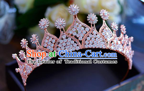 Baroque Style Hair Jewelry Accessories Bride Royal Crown Princess Zircon Hair Clasp for Women