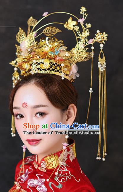 Chinese Traditional Handmade Hair Accessories Ancient Tassel Phoenix Coronet Hairpins Complete Set for Women