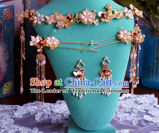 Chinese Traditional Handmade Hair Accessories Ancient Hair Clasp Tassel Hairpins Complete Set for Women