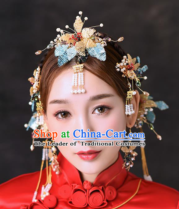 Chinese Traditional Handmade Hair Accessories Ancient Flowers Frontlet Tassel Hairpins Complete Set for Women