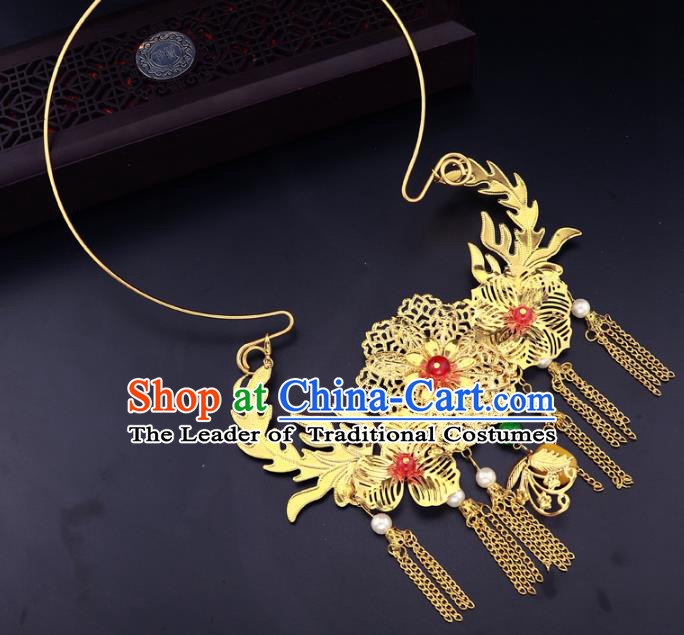 Traditional Chinese Jewelry Accessories Golden Flowers Necklace Ancient Hanfu Tassel Necklet for Women