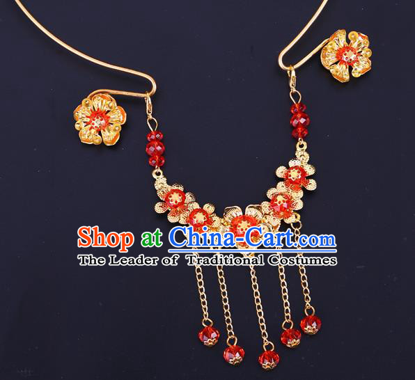 Traditional Chinese Jewelry Accessories Red Beads Necklace Ancient Hanfu Tassel Necklet for Women