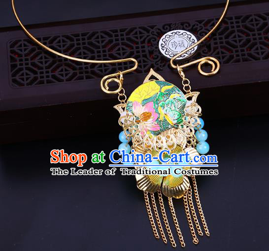 Traditional Chinese Jewelry Accessories Lotus Necklace Ancient Hanfu Necklet for Women