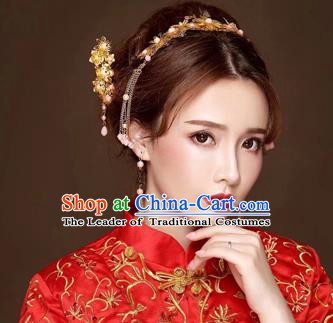 Chinese Traditional Handmade Bride Xiuhe Suit Hair Accessories Tassel Step Shake Ancient Hairpins Complete Set for Women