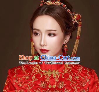 Chinese Traditional Handmade Hair Accessories Bride Xiuhe Suit Phoenix Coronet Ancient Hairpins Complete Set for Women