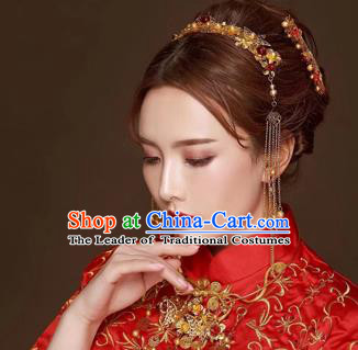 Chinese Traditional Handmade Hair Accessories Bride Xiuhe Suit Hair Comb Ancient Hairpins Complete Set for Women