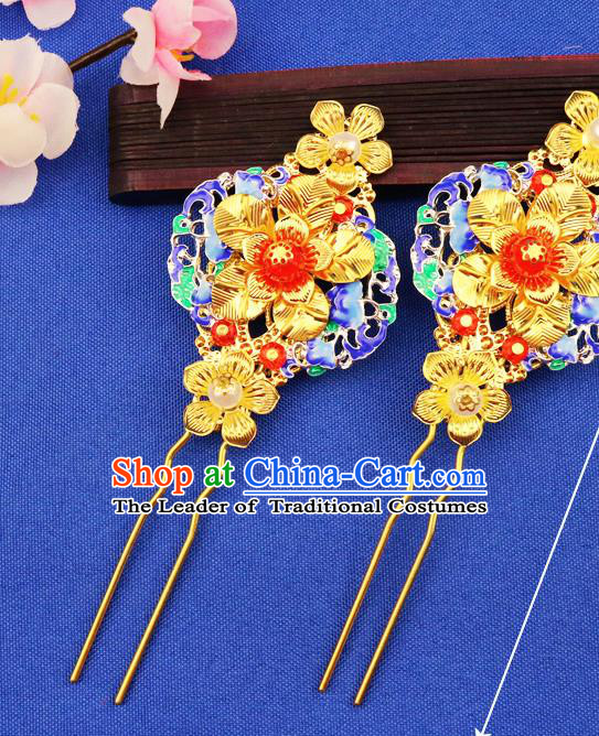 Chinese Traditional Xiuhe Suit Hair Accessories Blueing Hair Clips Ancient Bride Hairpins for Women