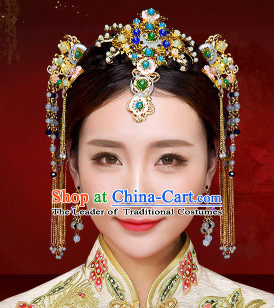 Chinese Traditional Xiuhe Suit Hair Accessories Ancient Bride Hairpins Hair Sticks Complete Set for Women