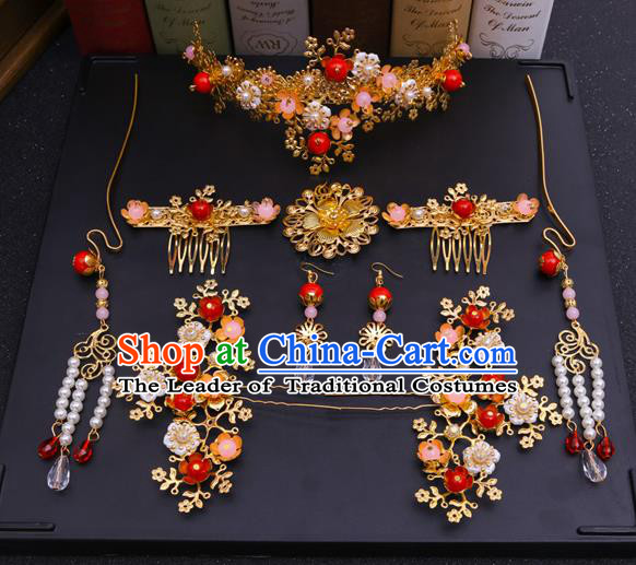 Chinese Traditional Xiuhe Suit Hair Accessories Ancient Bride Hairpins Complete Set for Women