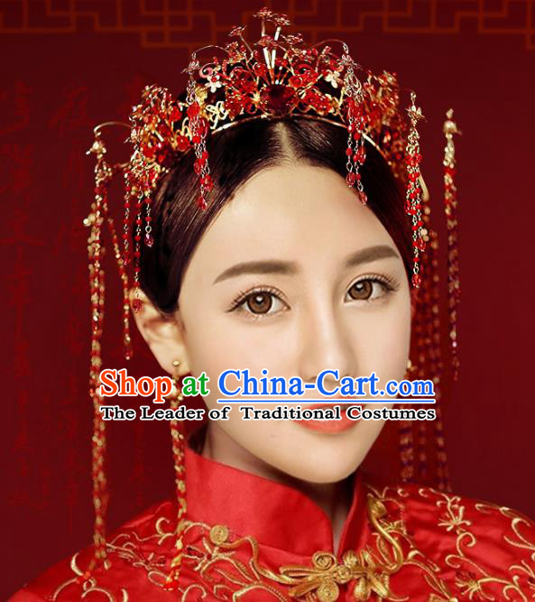 Chinese Traditional Xiuhe Suit Hair Accessories Ancient Red Crystal Phoenix Coronet Hairpins for Women