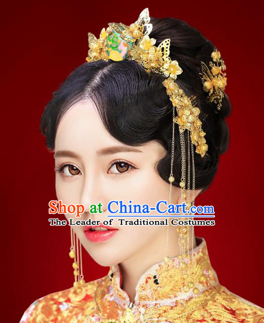 Chinese Traditional Xiuhe Suit Hair Accessories Ancient Empress Phoenix Coronet Hairpins and Necklace Complete Set for Women