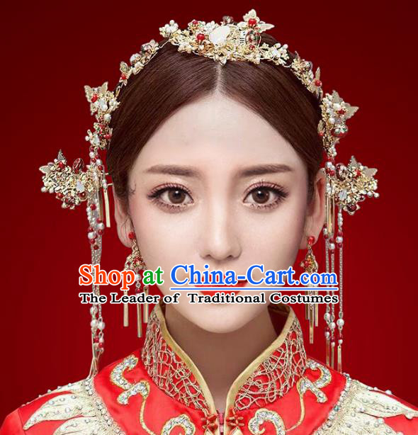 Chinese Traditional Hair Accessories Complete Set Ancient Xiuhe Suit Phoenix Coronet Hairpins for Women