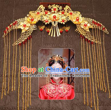 Chinese Traditional Hair Accessories Ancient Red Beads Phoenix Coronet Hairpins for Women