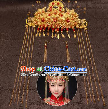 Chinese Traditional Hair Accessories Ancient Golden Phoenix Coronet Hairpins for Women