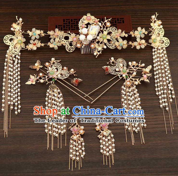 Chinese Traditional Xiuhe Suit Hair Accessories Ancient Handmade Pearls Hairpins Complete Set for Women
