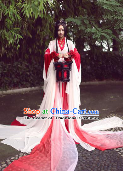 Chinese Ancient Cosplay Fairy Embroidered Costume Jin Dynasty Swordswoman Hanfu Dress Clothing for Women