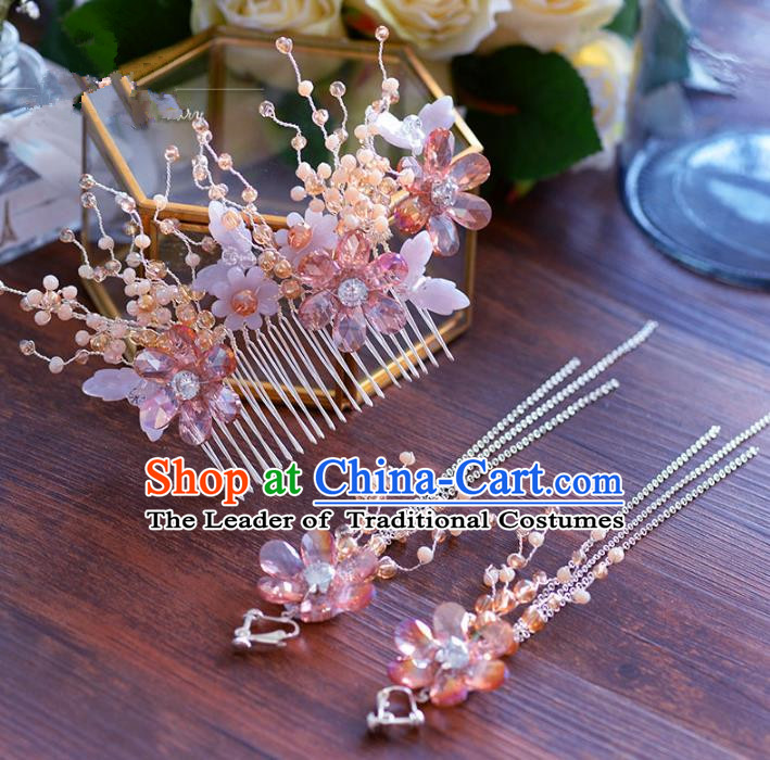 Chinese Traditional Handmade Hair Accessories Ancient Hair Comb and Earrings for Women