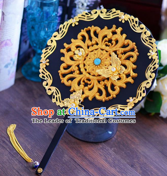 Chinese Handmade Accessories Ancient Palace Fans Round Fan for Women