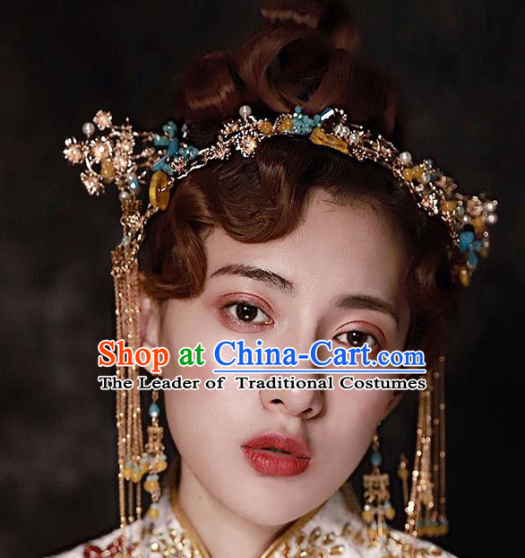 Chinese Ancient Handmade Hair Accessories Traditional Xiuhe Suit Phoenix Coronet Hairpins for Women