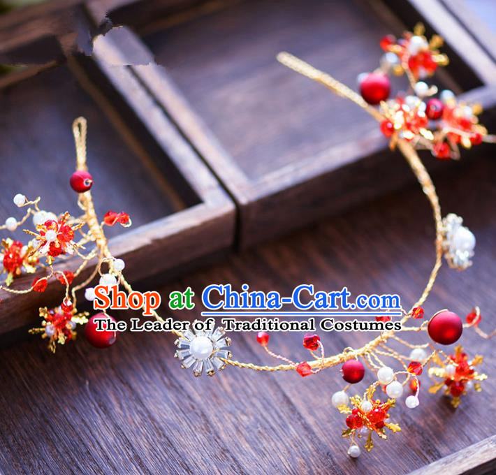 Top Grade Handmade Hair Accessories Bride Golden Hair Clasp Headwear for Women