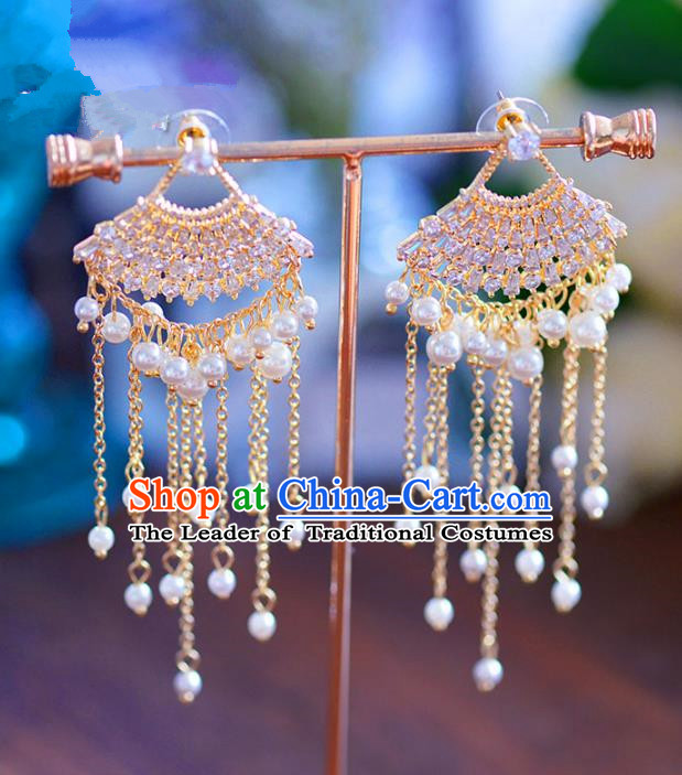 Chinese Handmade Jewelry Accessories Crystal Eardrop Ancient Hanfu Pearls Earrings for Women
