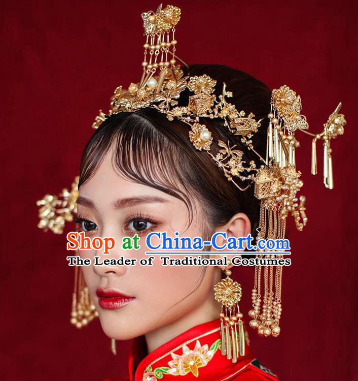 Chinese Ancient Handmade Hair Accessories Phoenix Coronet Traditional Xiuhe Suit Tassel Hairpins for Women