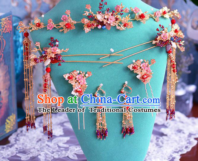 Chinese Ancient Handmade Hair Accessories Hair Clasp Traditional Xiuhe Suit Tassel Hairpins for Women