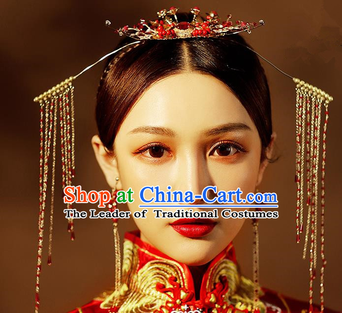 Chinese Ancient Handmade Tassel Phoenix Coronet Hair Accessories Traditional Xiuhe Suit Hairpins for Women
