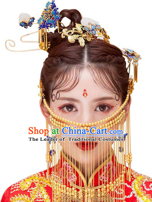 Chinese Ancient Handmade Xiuhe Suit Cloisonne Phoenix Coronet Traditional Jade Hairpins Hair Accessories Complete Set for Women