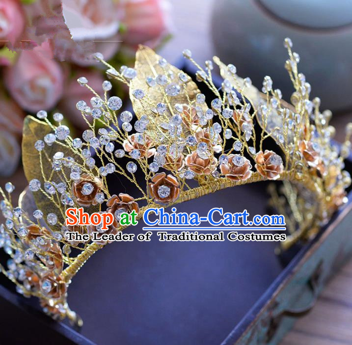 Top Grade Handmade Baroque Golden Leaf Royal Crown Bride Zircon Hair Imperial Crown for Women
