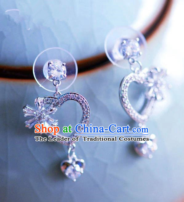 Top Grade Handmade Wedding Jewelry Accessories Zircon Heart-shaped Earrings for Women