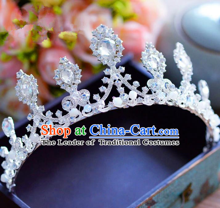 Top Grade Handmade Baroque Princess Crystal Royal Crown Bride Zircon Hair Imperial Crown for Women