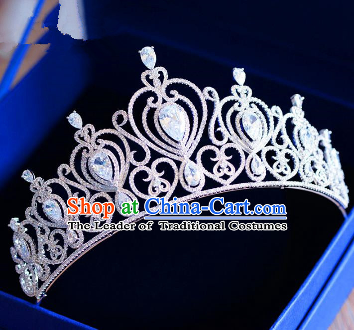 Top Grade Handmade Baroque Princess Zircon Royal Crown Hair Imperial Crown for Women