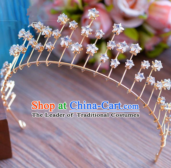 Top Grade Handmade Baroque Princess Crystal Stars Royal Crown Hair Imperial Crown for Women