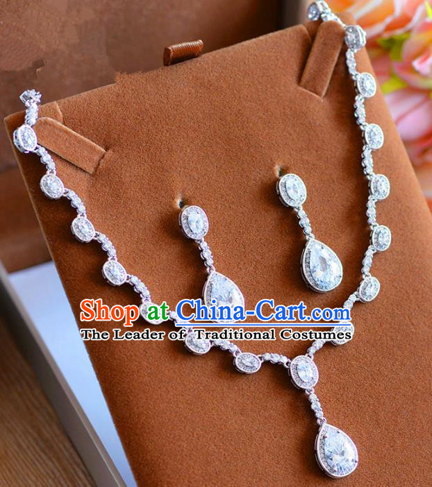 Top Grade Handmade Wedding Jewelry Accessories Zircon Necklace and Earrings for Women