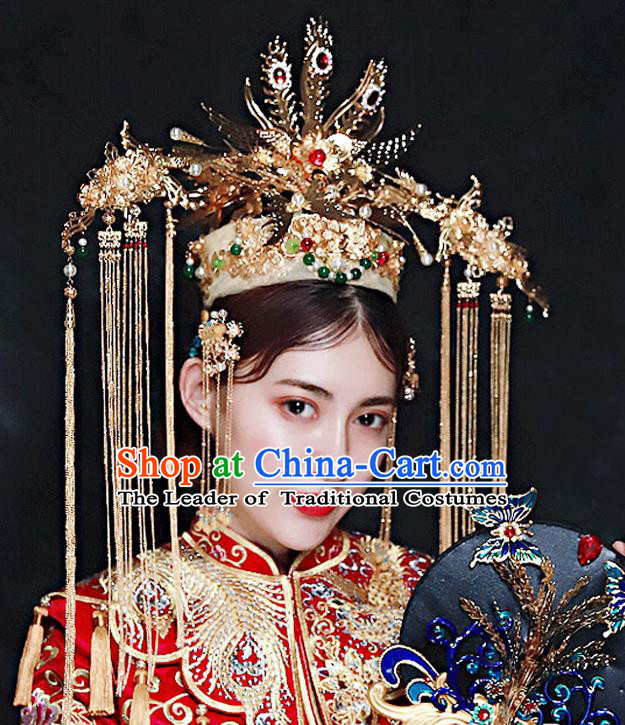 Chinese Ancient Handmade Hair Accessories Traditional Xiuhe Suit Golden Phoenix Coronet Tassel Hairpins for Women