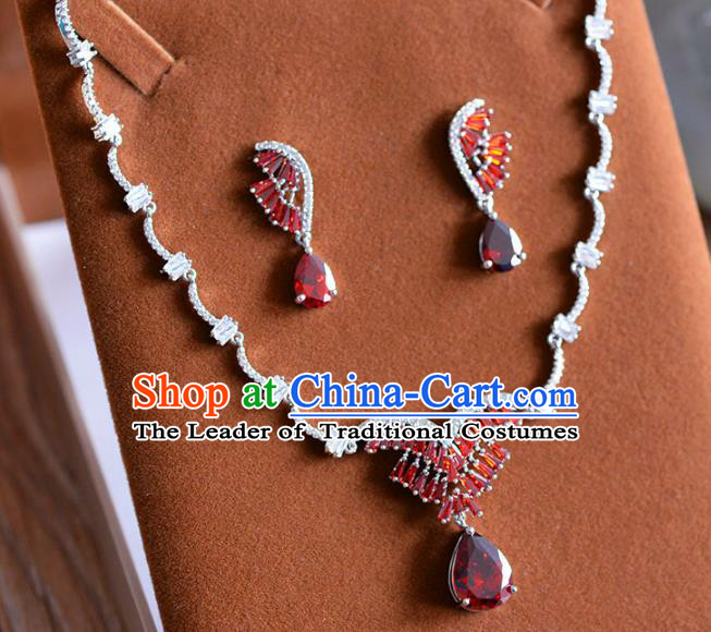 Top Grade Handmade Wedding Jewelry Accessories Red Zircon Necklace and Earrings for Women