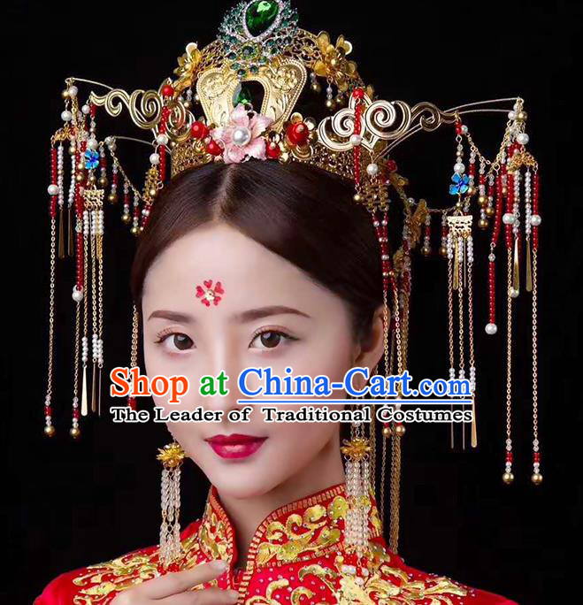 Chinese Ancient Handmade Green Crystal Phoenix Coronet Traditional Xiuhe Suit Hairpins Hair Accessories for Women