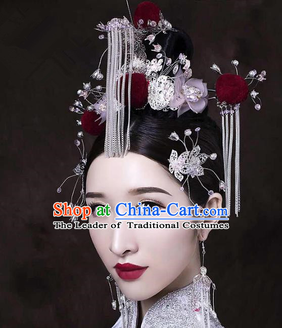 Chinese Ancient Handmade Phoenix Coronet Hair Accessories Traditional Hairpins Complete Set for Women