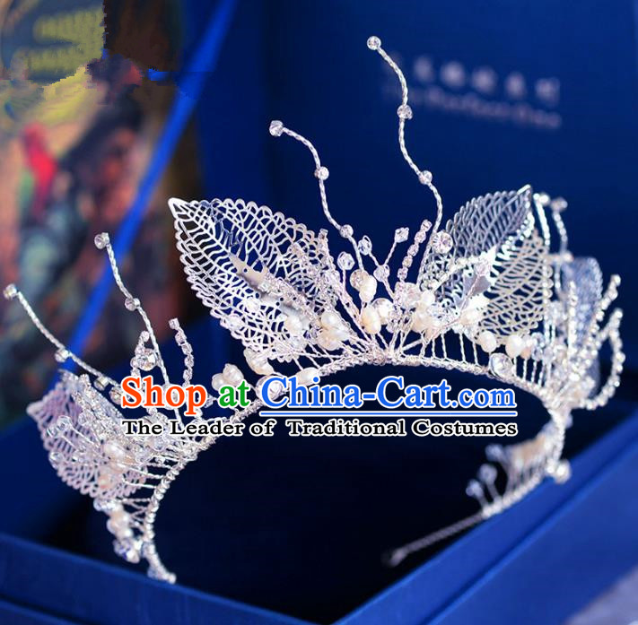 Handmade Baroque Hair Jewelry Accessories Royal Crown Leaf Imperial Crown for Women