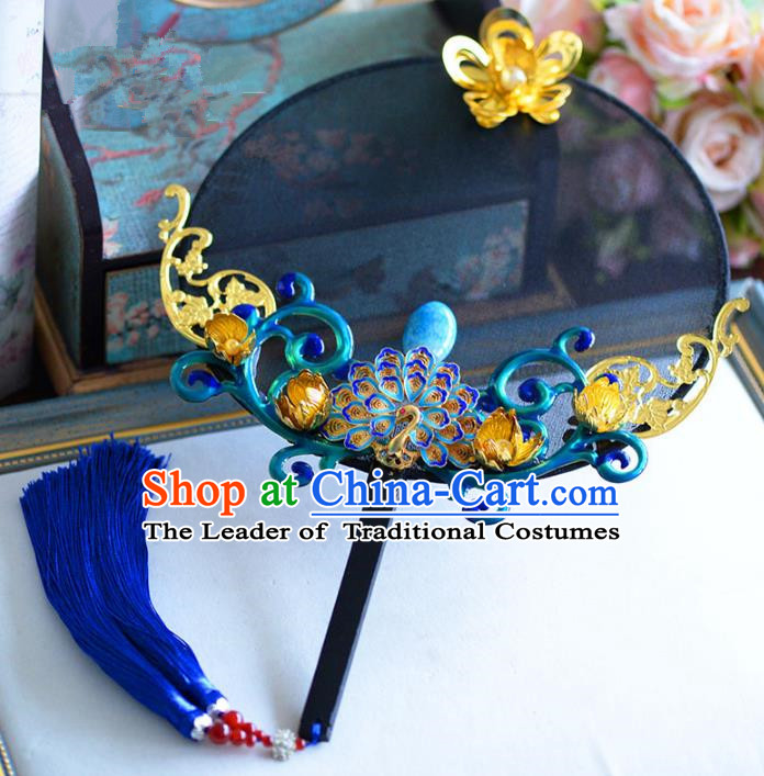 Chinese Handmade Wedding Accessories Blue Palace Fans Hanfu Round Fans for Women