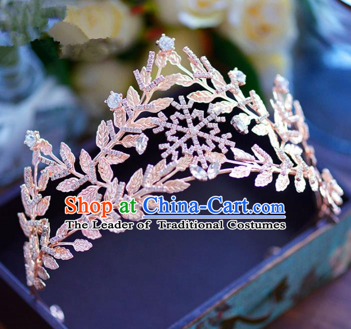 Baroque Style Hair Jewelry Accessories Bride Crystal Leaf Royal Crown Princess Imperial Crown for Women