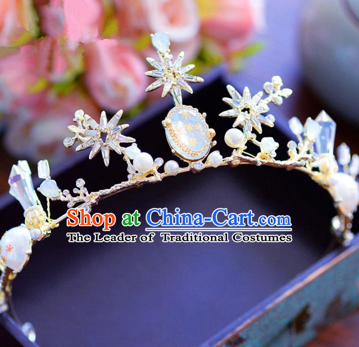 Handmade Hair Jewelry Accessories Baroque Royal Crown Crystal Pearls Imperial Crown for Women