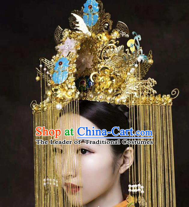 Chinese Ancient Handmade Palace Tassel Phoenix Coronet Hair Accessories Traditional Hairpins for Women