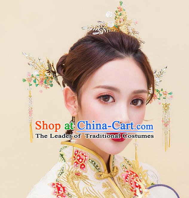 Chinese Ancient Handmade Palace Phoenix Coronet Hair Accessories Traditional Hairpins for Women