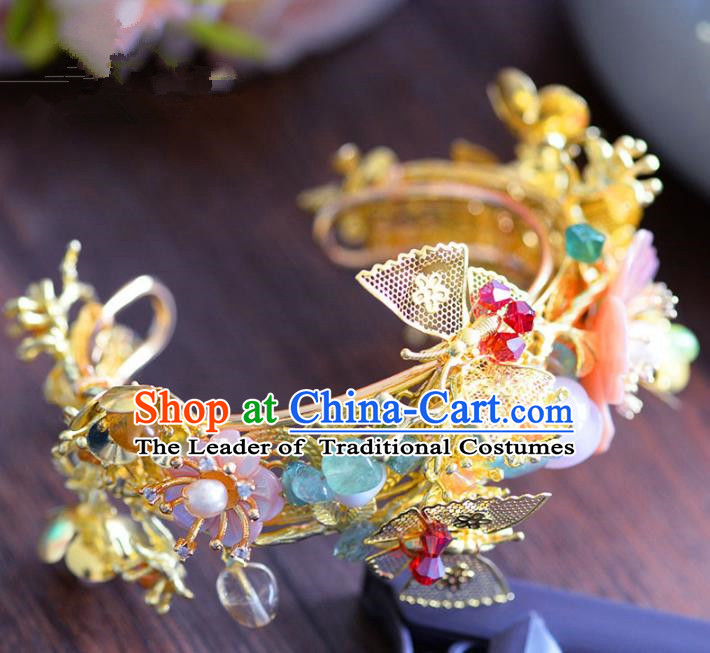 Top Grade Handmade Jewelry Accessories Chinese Ancient Bride Butterfly Bracelet Hanfu Bangle for Women