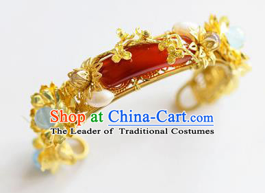 Top Grade Handmade Jewelry Accessories Chinese Ancient Bride Agate Bracelet Hanfu Bangle for Women