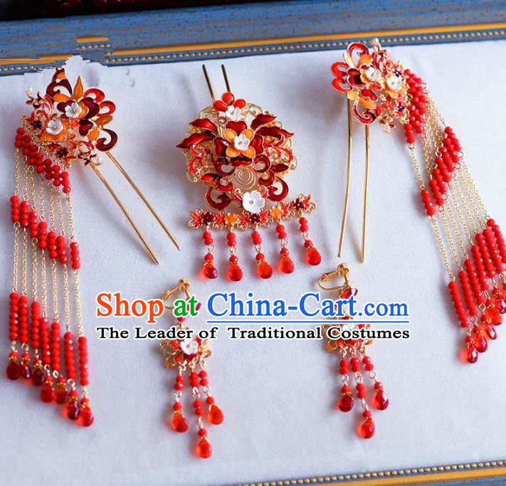 Chinese Ancient Handmade Palace Pearls Red Beads Hair Clips Hair Accessories Traditional Hairpins Complete Set for Women