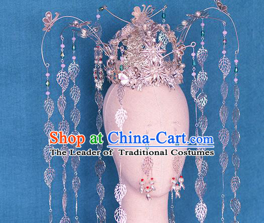 Chinese Ancient Handmade Palace Argent Phoenix Coronet Hair Accessories Traditional Hairpins for Women