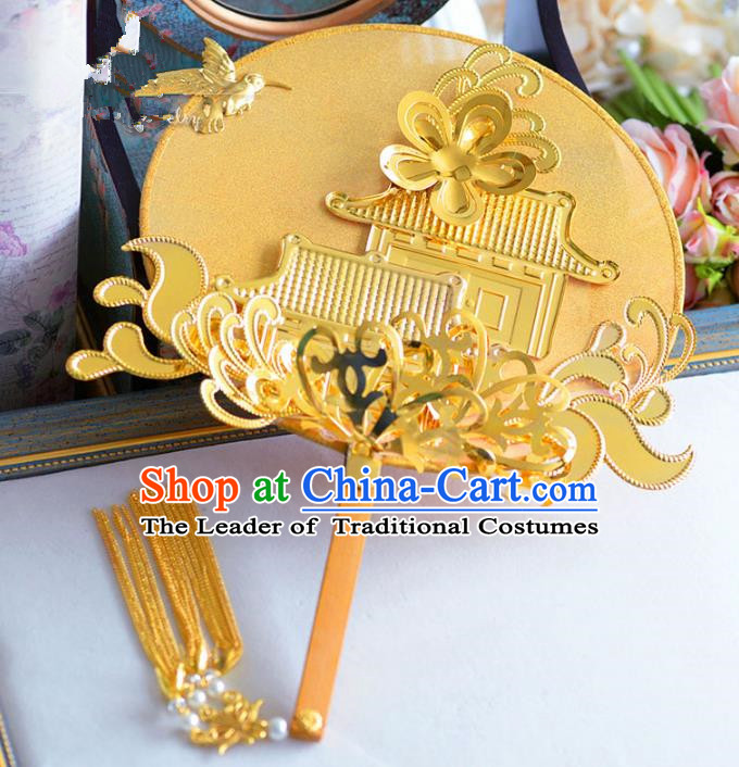 Chinese Handmade Wedding Accessories Golden Palace Fans Hanfu Round Fans for Women